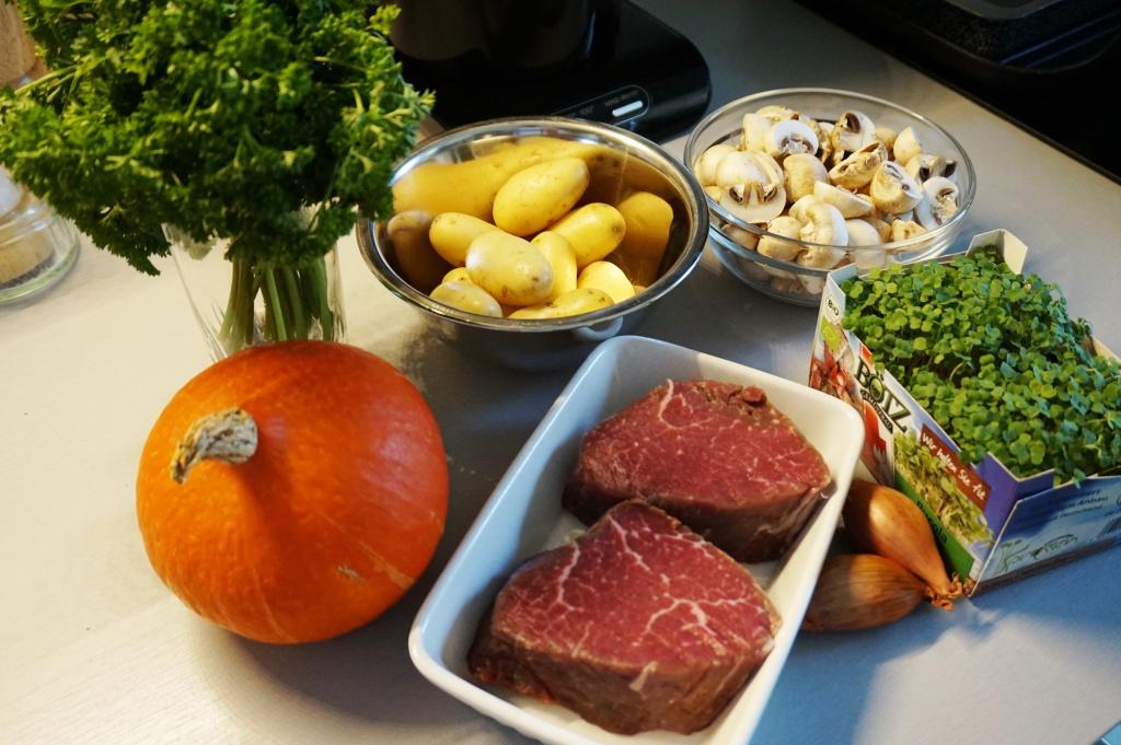 Steak und Kürbis Zutaten