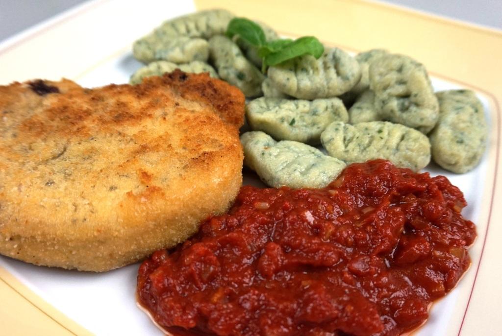 Basil gnocchi pork chop tomato sauce