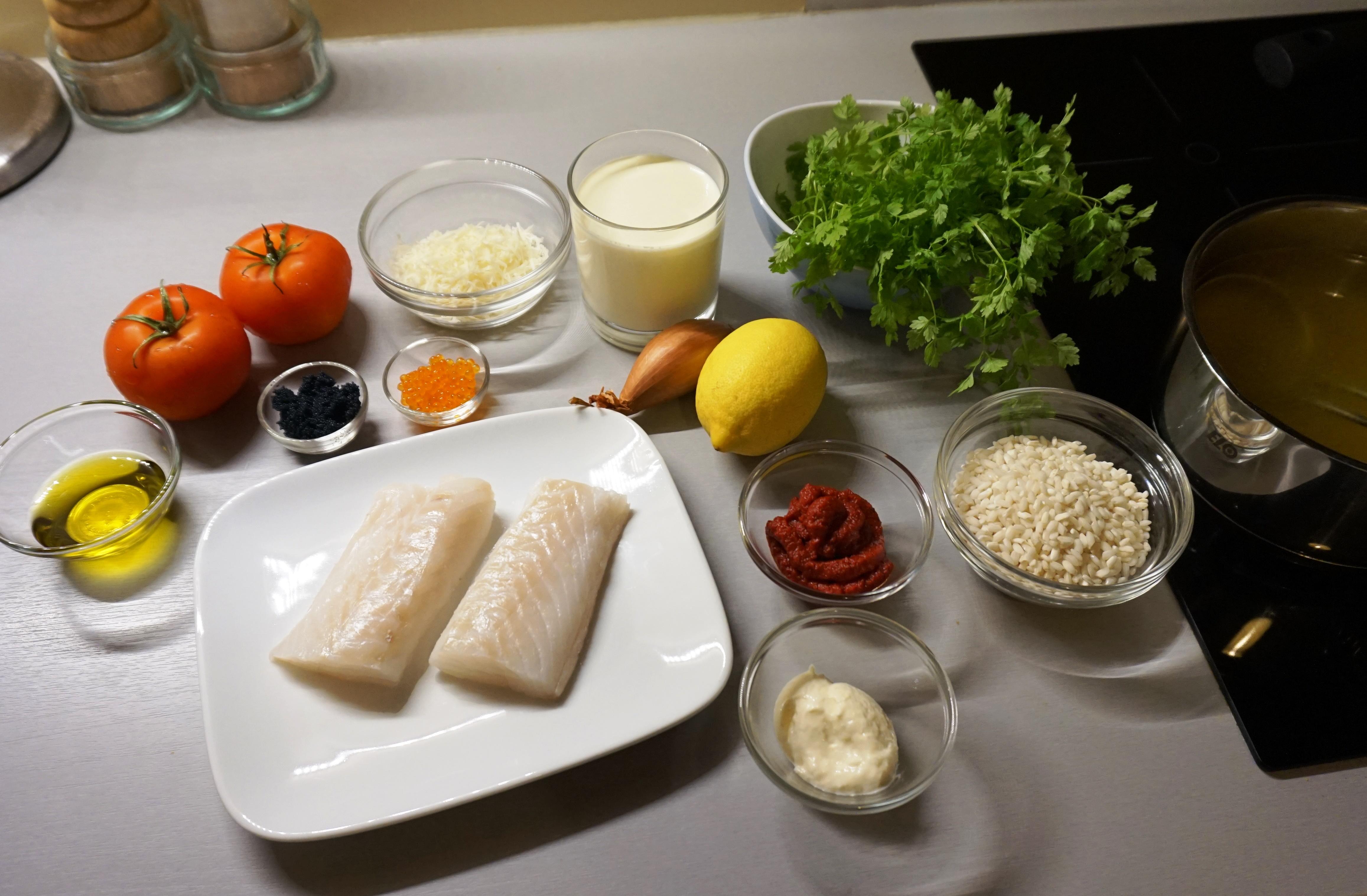 Kabeljau und Tomaten-Risotto / Cod fish and tomato risotto ...