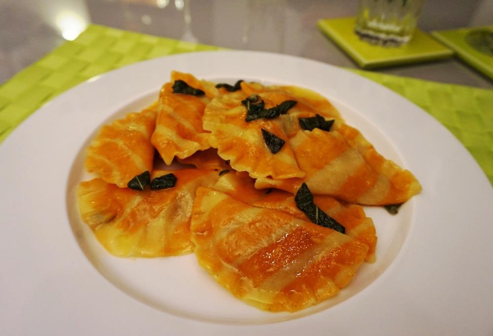 Pumpkin ravioli and sage butter