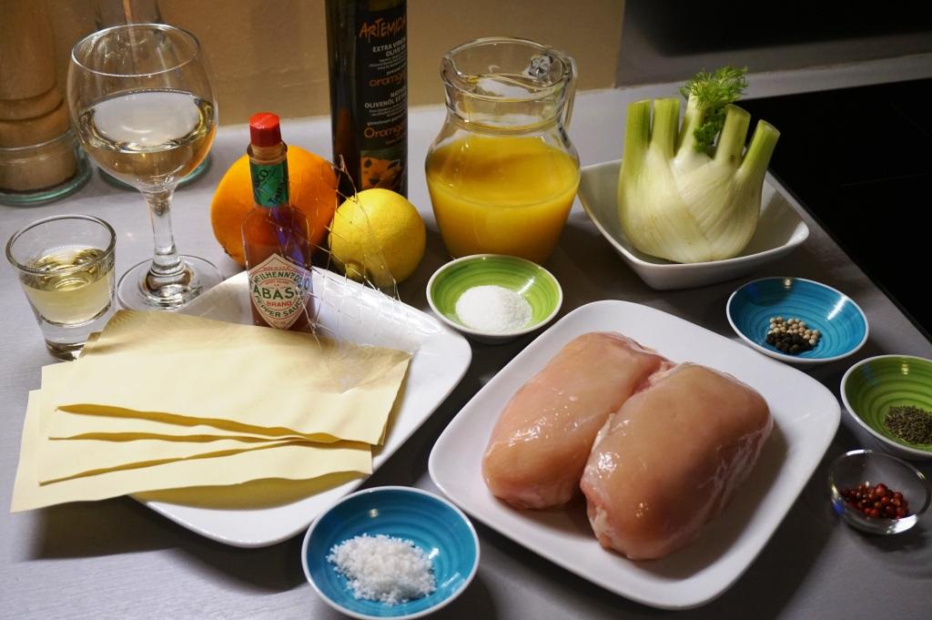 Lasagne Huhn Fenchel Zutaten
