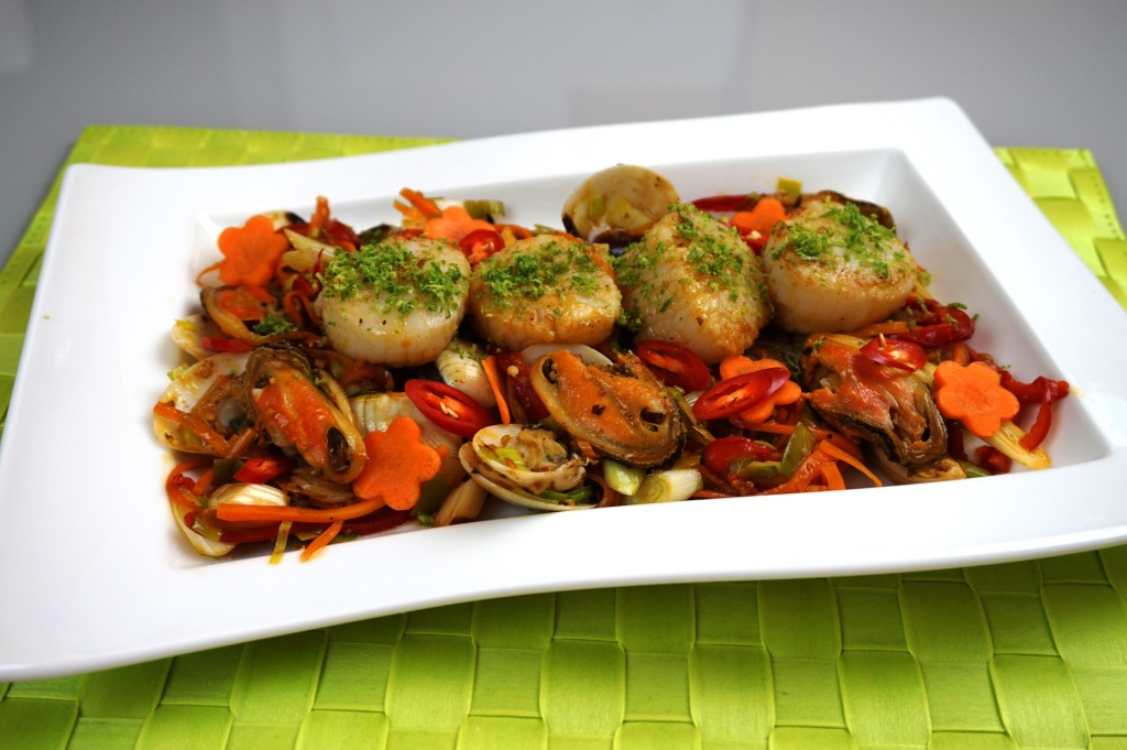 Muscheln Chili und Knoblauch