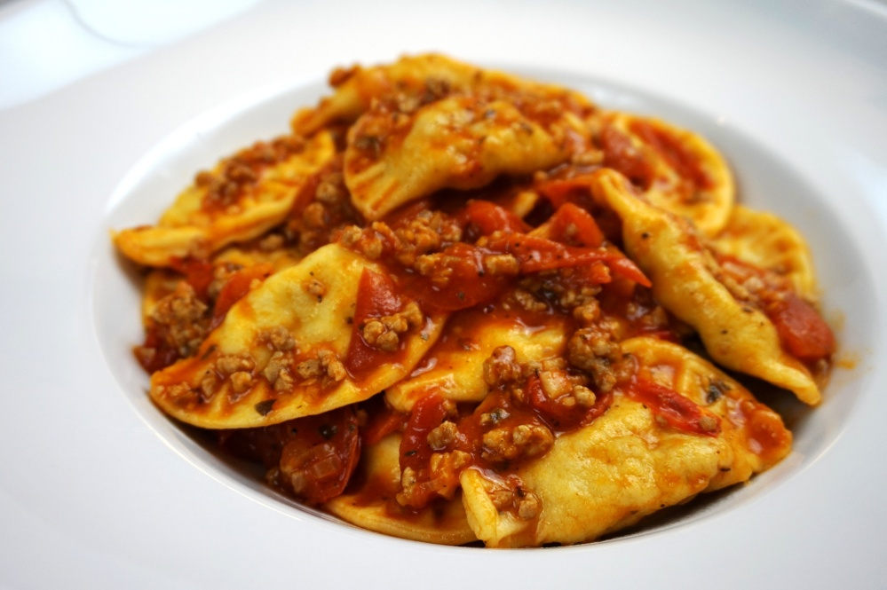 Ravioli and tomato sauce with meat