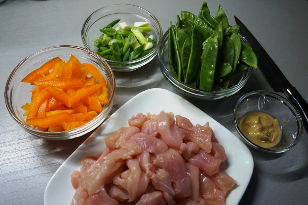 Prepared stuff for chicken with sesame coconut sauce