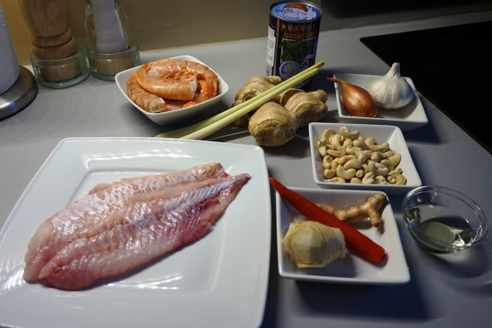 Thai fishcurry Fisch Curry Rotbarsch Garnelen Zutaten