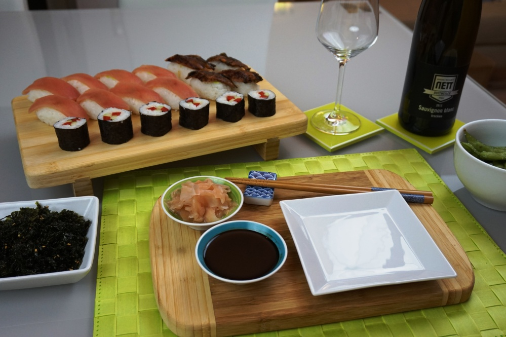 Sushi menu with a perfect wine match