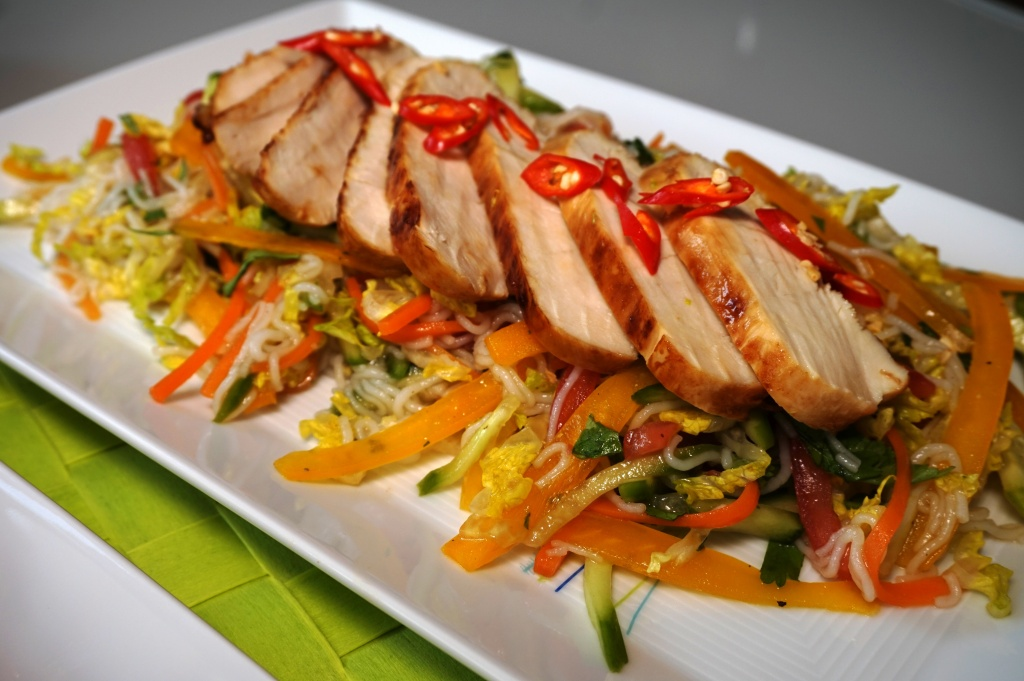 Lime chicken on rice noodle salad