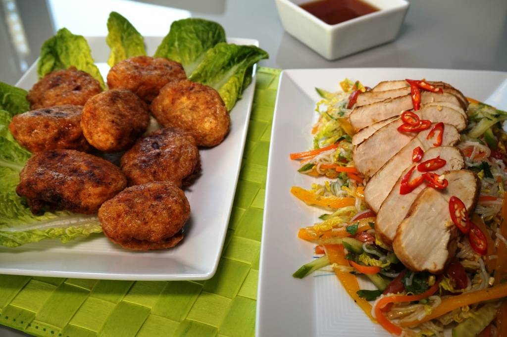 Fried fish meatballs and lime chicken