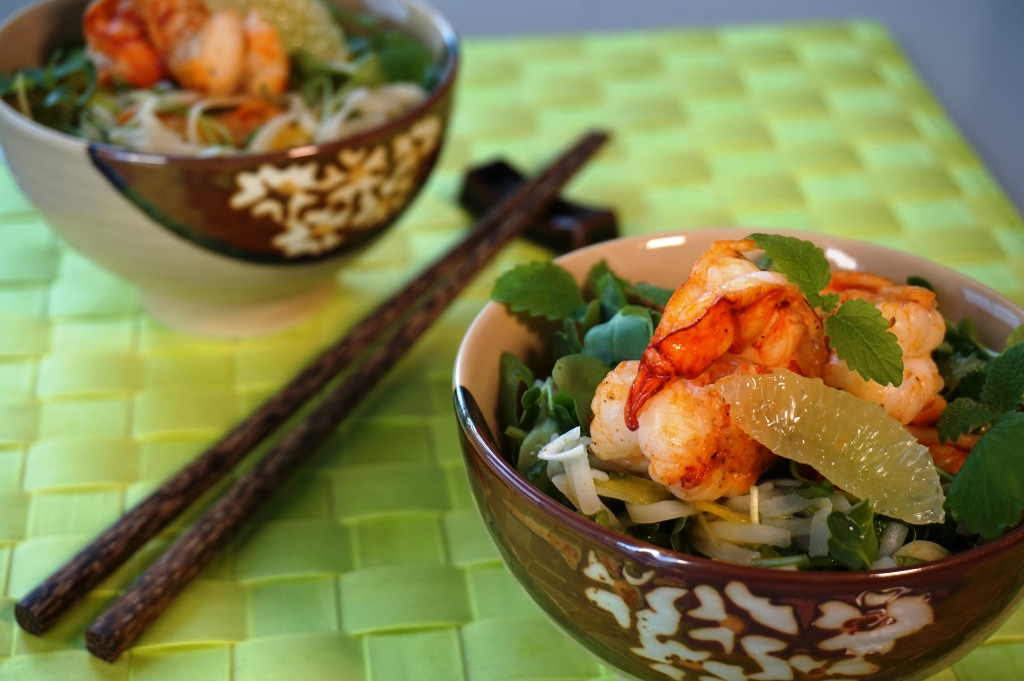 Rice noddle salad with herbs and red prawns