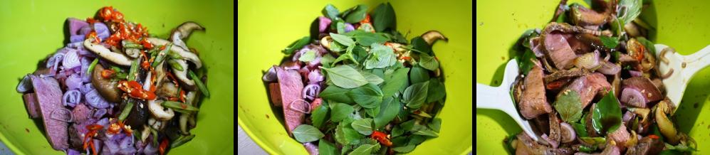 Rindfleischsalat Salat mischen