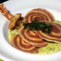 Gamberetto-Ravioli mit Bärlauchsauce / Shrimp-ravioli with bear leek sauce