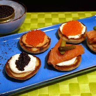 Blinis, KAviar, Lachs